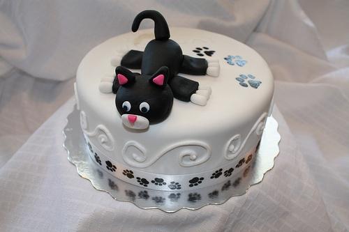 Торт детский фото кот чёрный